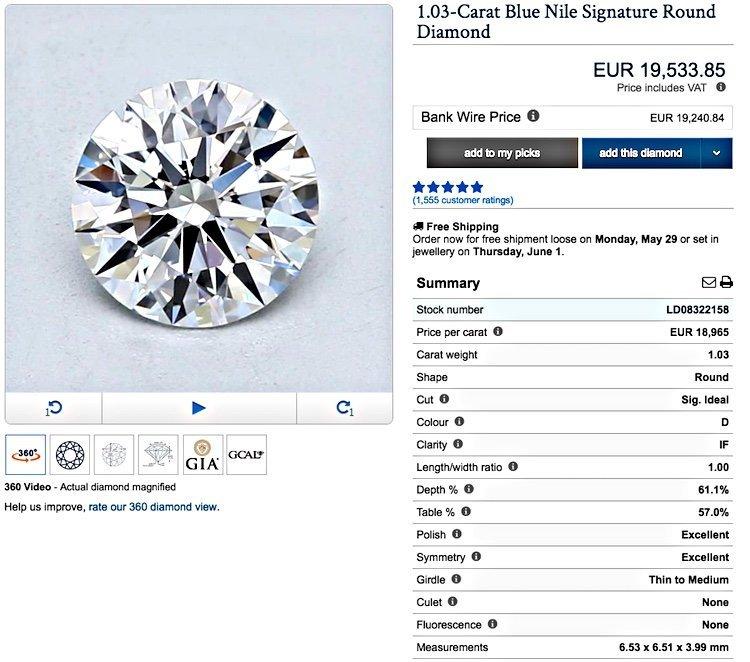 Diamant mit 1,03 Karat-Gewicht und Brillant-Schliff makellos in all seinen Eigenschaften