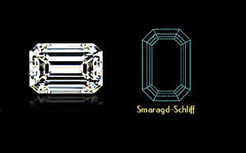 Smaragd-Schliff mit Schema - klein, eine der beliebtesten Diamant-Formen