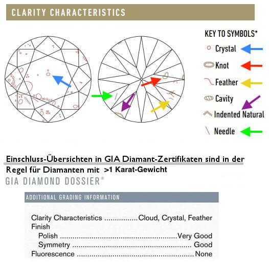 Übersicht von Diamant-Einschlüssen und ihren Arten im GIA Diamant-Zertifikat zum Diamantenreinheitsgrad