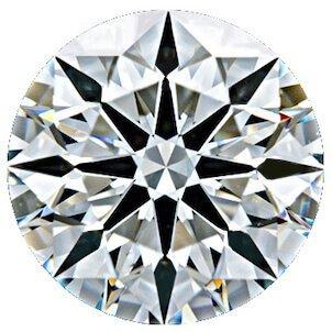 8 präzis geformte Pfeile nach außen gerichtet in einem Hearts and Arrows Diamanten, Ideal Cut bewertet (AGS)