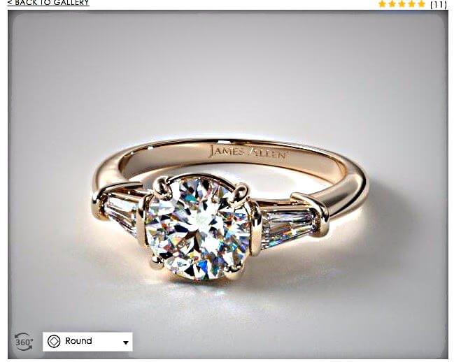 Ringmodell mit Seitensteinen von James Allen - namhafte Juweliere und Diamanten Shops