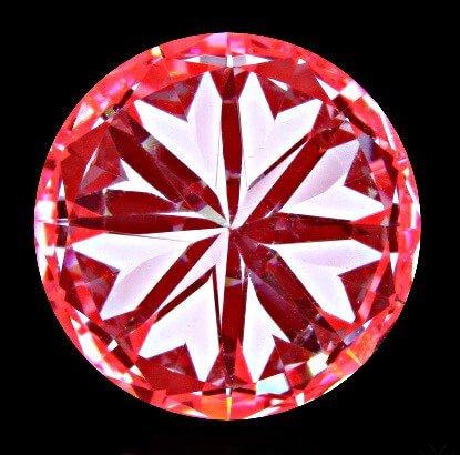 Ungenügende Herz-Formationen - 2. Beispiel eines angepriesenen Hearts and Arrows Diamanten der weit weniger als Durchnitt hat