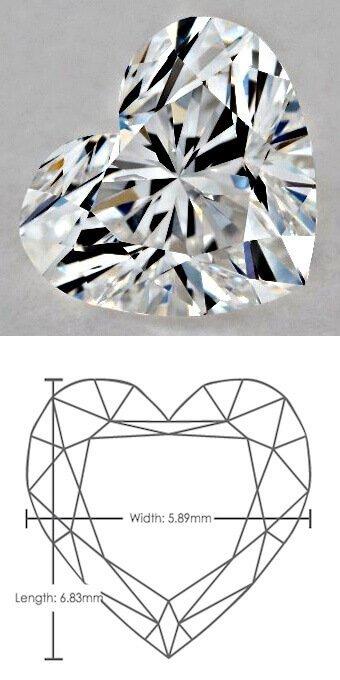 zu Diamant-Karat-Tabelle: Diamant von 1 Karat mit Herzschliff, mit dem Verhältnis 1.16:1.00 (20-fache Vergrößerung!)