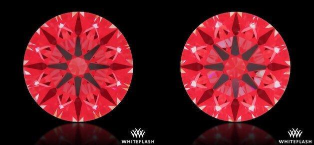 Ideal-Scope-Aufnahmen - 2 scheinbar identische Diamanten im Vergleich