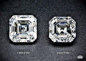 2 Diamanten mit Asscher-Schliff im Vergleich: links mit 1.95 Karat, rechts mit 2.02 Karat