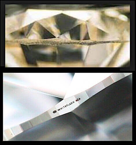Ausschnitt eines Diamanten mit einer grob belassenen Rundiste - darunter Rundiste mit sauberem Feinschliff