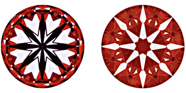 8 Herzen, wenn der Diamant von unten durch die Pavillone betrachtet wird. Nur Hearts and Arrows Diamanten bilden dieses äußerst präzise Muster ab - Aufnahmen eines Diamanten, der mit höchster-Genauigkeit gefertigt wurde