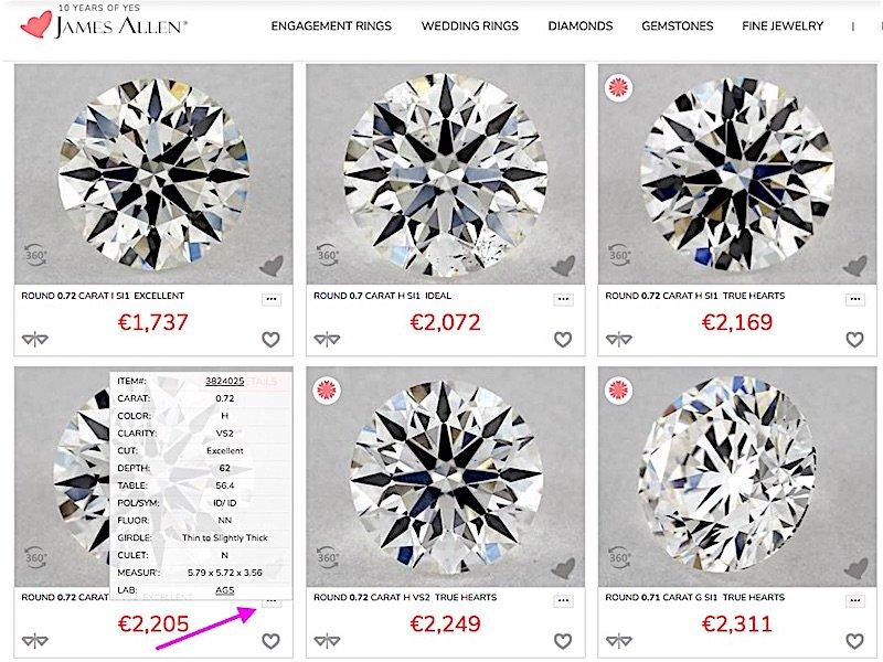 Ausschnitt aus James Allen Liste Loose Diamonds mit Suchhilfe des Kurzüberblicks der Daten und 1000 gute Gründe zu Ihrem Diamantring-Kauf bei James Allen