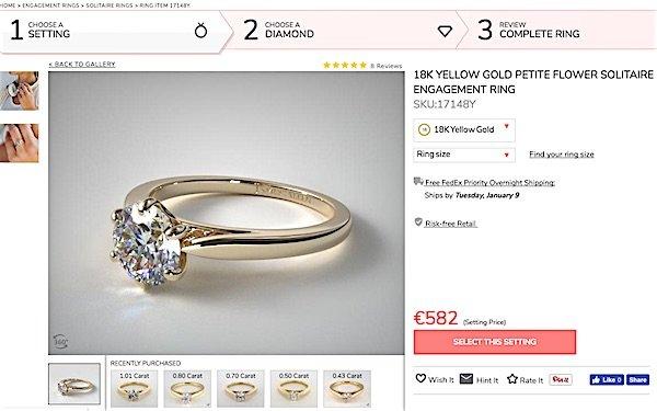 """James Allen Ring Design """"Petite Flower"""" 18ct Gelbgold"""