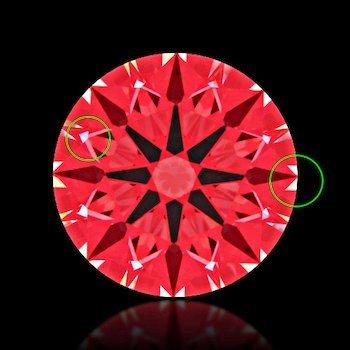 Ideal-Scope Kontrast Leckage als kleine Muster in einem perfekt geschliffenen Diamanten