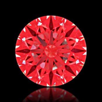 Abbildung der roten Reflexionsfolie durch das Ideal-Scope eines Diamanten mit mittelmäßigem Schliff