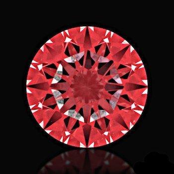 Schlechter Schliff von Diamanten - Abbildung der roten Reflexionsfolie durch das Ideal-Scope
