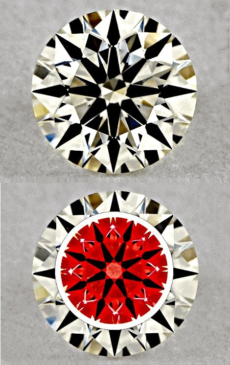 Diamanten Schliff als ideal geschliffener Brillantschliff - Bilder unterschiedlicher Schliffgrade