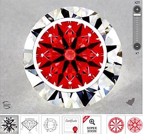 AGS, Karat 1.71-ct mit der Farbe I der Reinheit VS2 Hearts and Arrows Ideal-Scope-Aufnahme 20x Zoom