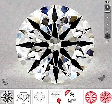 Diamant, AGS bewertet Karat-Gewicht 1.71-ct mit Farbe I der Reinheit VS2 Hearts and Arrows (True Hearts) 20x Zoom