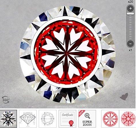 AGS, Karat 1.71-ct mit der Farbe I der Reinheit VS2 Hearts and Arrows, Hearts-Scope-Aufnahme