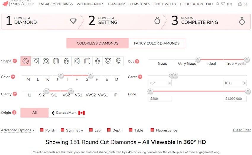James Allen Auswahl-Filter-Fenster für Diamanten mit den eigestellten Vorgaben