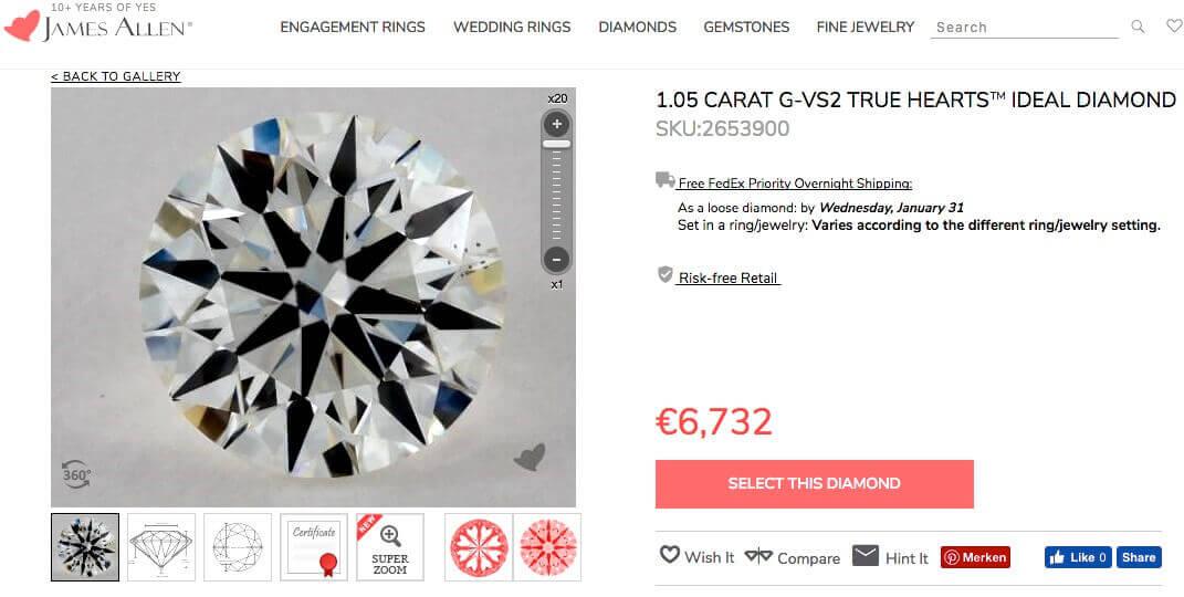 Diamant links aus der Liste der vorherigen Seite mit 1.054 Karat