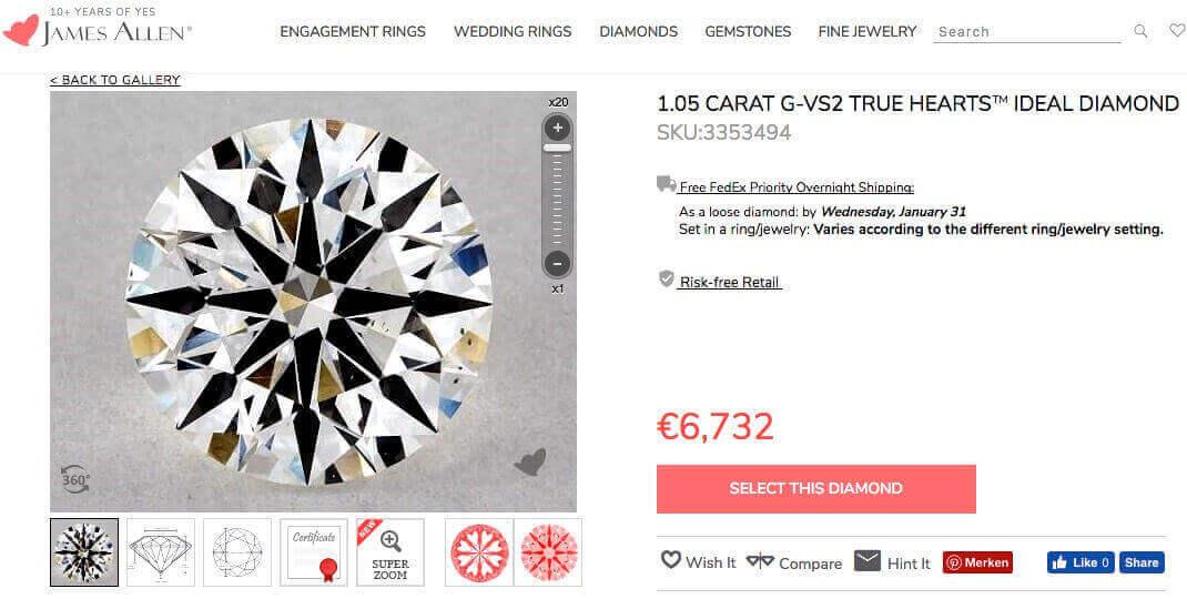 Diamant rechts aus der Liste des vorigen Kapitels mit 1.056 Karat