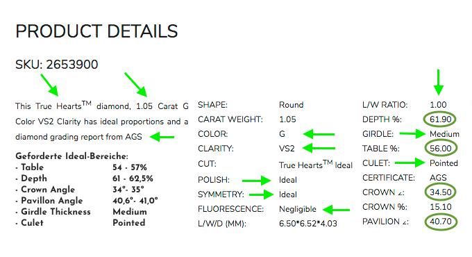 Produkt-Werte des Diamanten links aus der Liste der vorherigen Seite mit 1.054 Karat
