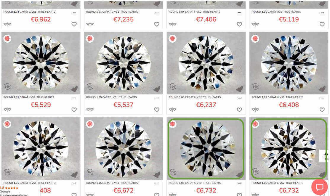 """Ausschnitt aus der Liste mit Diamanten """"True Hearts und eingegebenen Werten für die Vorauswahl 0,95ct - 1,05ct"""