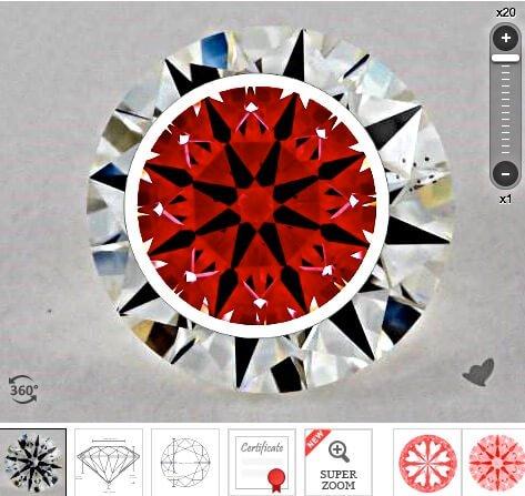 Ideal-Scope des Diamanten links aus der Liste der vorherigen Seite mit 1.054 Karat