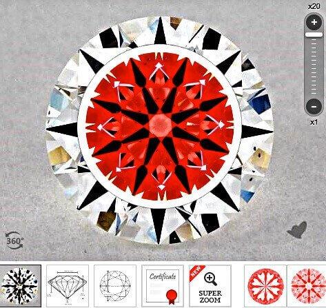 Ideal-Scope-Aufnahme des Diamanten rechts aus der Liste der vorherigen Seite mit 1.056 Karat