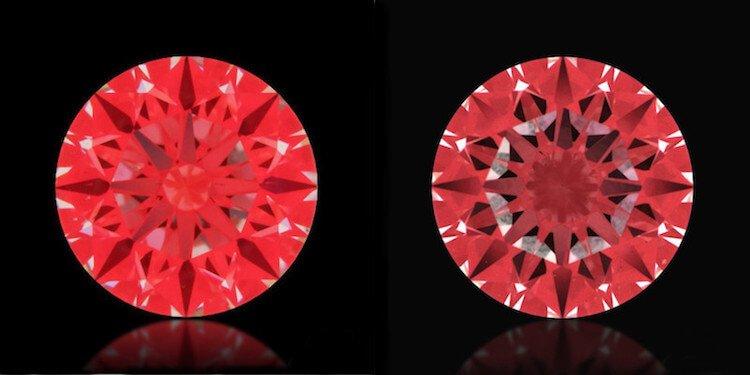 Zwei Beispiele als Ideal-Scope-Aufnahmen von Diamanten mit mittelmäßigen (links) bis schlechten Werten (rechts) zum Vergleich