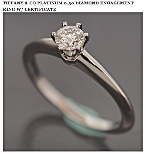 Tiffany Setting als Platinum-Ring mit Diamanten 0,30 ct