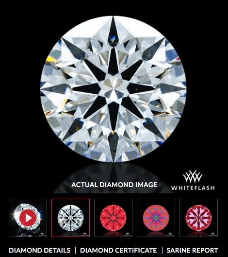 Whiteflash rund geschliffener Diamant mit 0,581ct VS2 und der Farbe H. 3-fach Bewertung im Schliff. Mit Hearts and Arrows bewertet mit idealen Proportionen