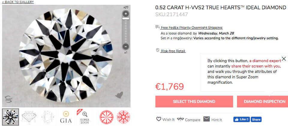 4. Beispiel Diamant rund 3-fach Excellent 0.52ct H VVS2 Hearts and Arrows mit idealen Proportionen