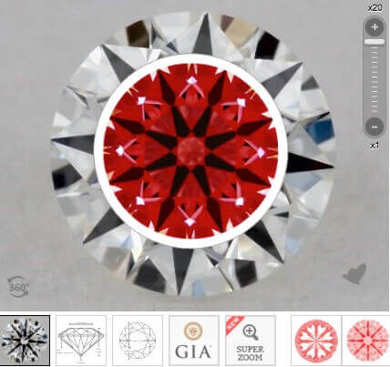 4. Beispiel Diamant rund 3x Excellent Cut 0.52ct H VVS2 perfektes Ideal-Scope - Hearts and Arrows