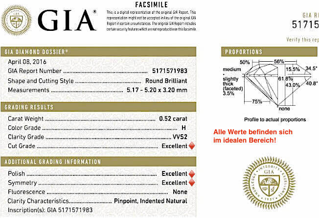 4. Beispiel Diamant rund 3-fach Excellent GIA-Zertifikat 0.52ct H VVS2 True Hearts