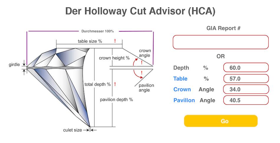 Eingabe-Fenster Holloway-Cut-Advisor (HCA) - gute Diamant Qualität mit dem Holloway Cut Advisor filtern