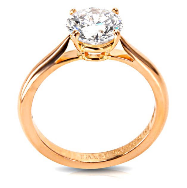 """Cartier Verlobungsring Solitaire 1895 in Rosé-Gold: Farbkategorie D, Reinheit VVS2 und 3-fach Schliff-Bewertungen von """"Very Good"""""""