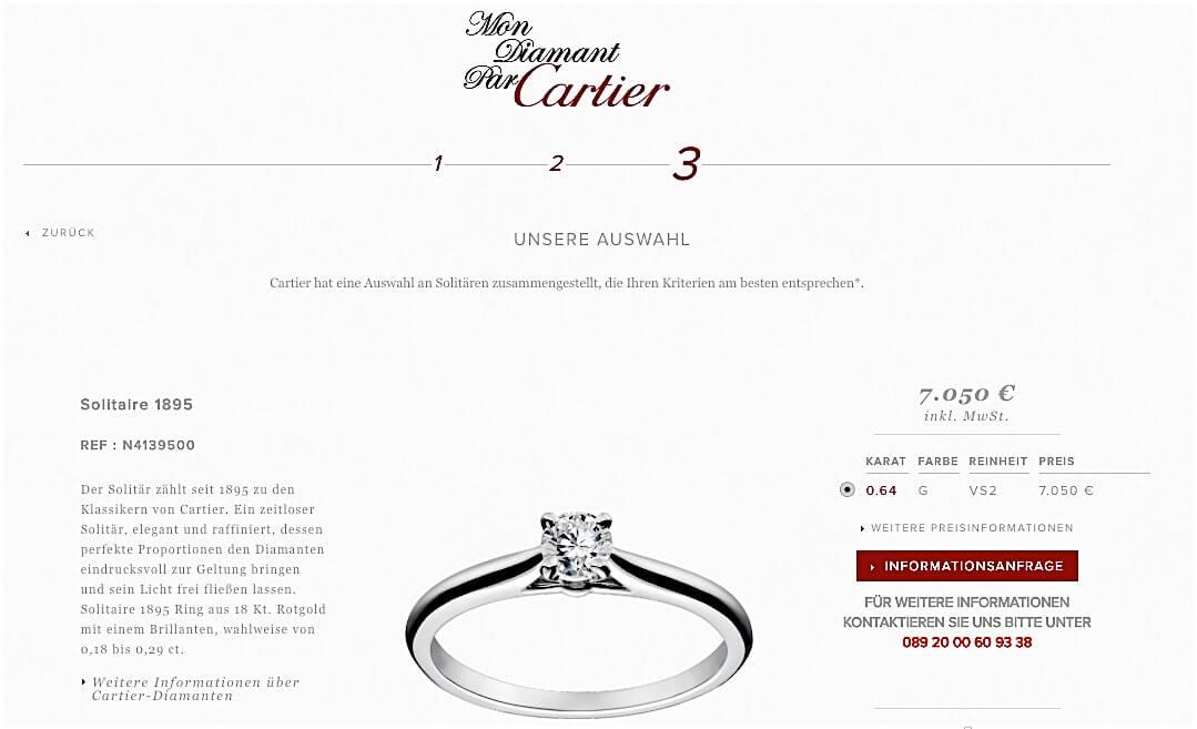 """Cartier-Auswahlfenster """"Mon Diamant parCartier"""" - Die dürftige Auswahl eines einzigen Diamanten als Ergebnis"""