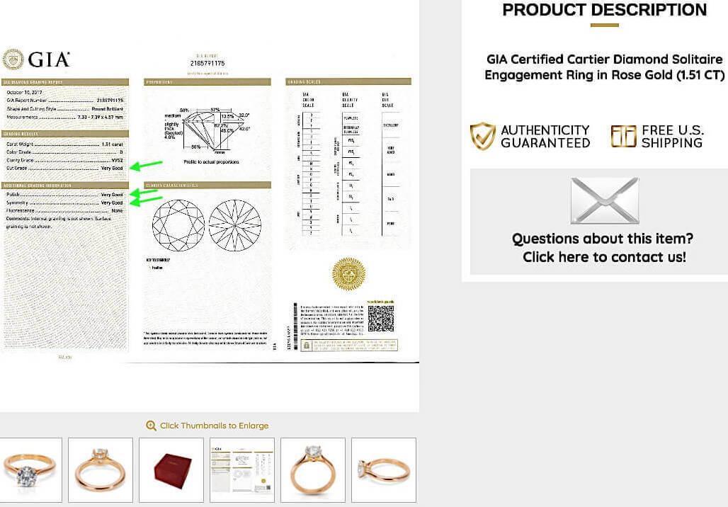 """GIA-Zertifikat mit Cartier Verlobungsring Solitaire 1895 in Rosé-Gold mit bester Farbkategorie, einer Reinheit von VVS2 und 3-fach Schliff-Bewertungen von """"Very Good"""""""