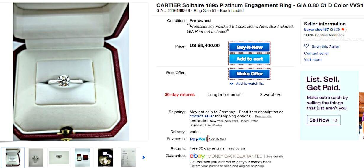 Beisp2 - Solitär mit Cartier Diamanten 0.80ct, Farbe D, VVS1 in klassischer Cartier-Box, Angebot bei eBay