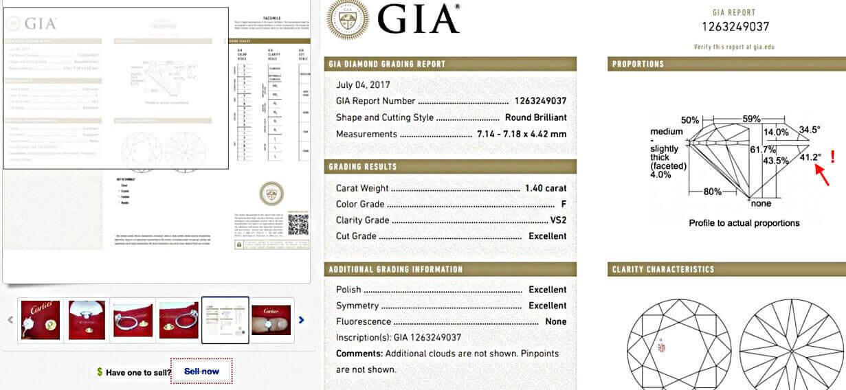Vergrößerung eines Gia-Zertifikats auf eBay. Bewertung für Cartier-Diamanten von 1.40 Karat, 3x Exellent im Schliff als Beisp 1