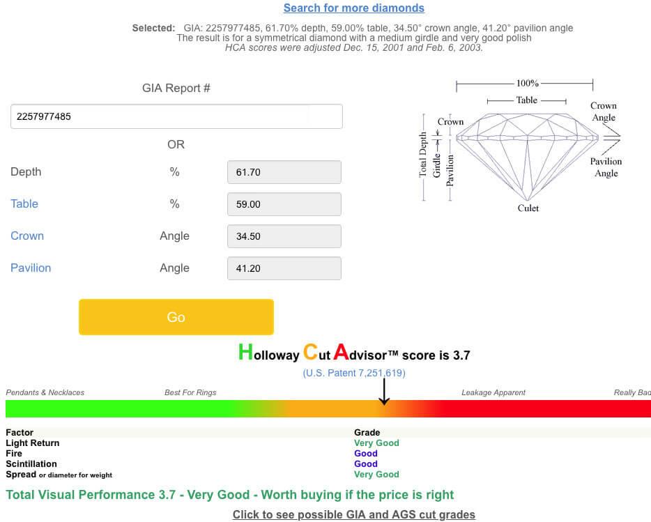 Auswertung mit dem Holloway Cut Advisor mit Ergebnis von 3.7 für James Allen-Diamanten, 2.02ct, F, VS2 im Vergleich als Beisp 1