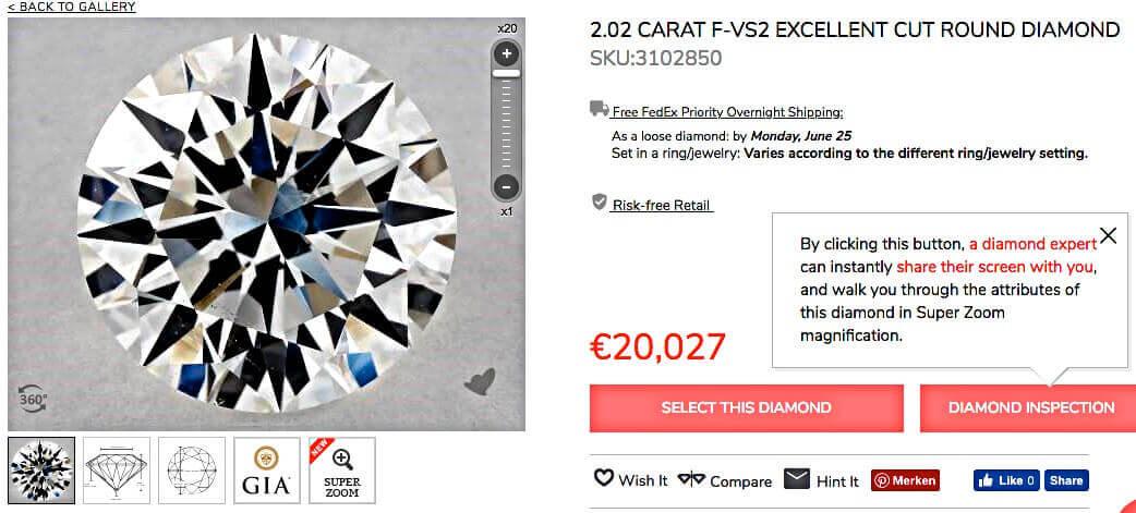 James Allen 2.02ct-Diamant 3-fach Excellent und identische Werte der Proportionen als Beisp1