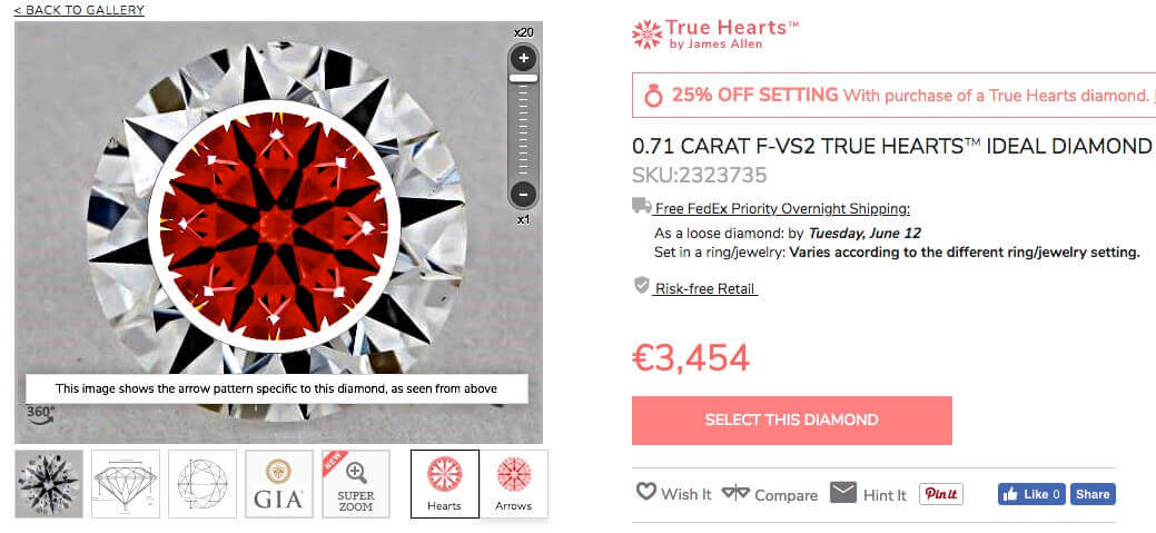 James Allen 0.71ct F VS2 Ideal Hearts & Arrows Diamant - Diamanten-Auswahl Perfekter Diamant mit großer Lichtstärke - ideale Proportionen - Nachweis durch Ideal-Scope-Aufnahme