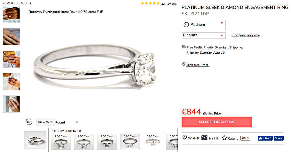 Platin-Setting für James Allen 0.71ct F VS2 - Hearts & Arrows Diamant - gleich dem Cartier Solitaire 1895 Ring-Setting