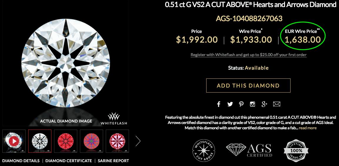 James Allen 0.71ct F VS2 Ideal Hearts & Arrows Diamant - Diamanten-Auswahl