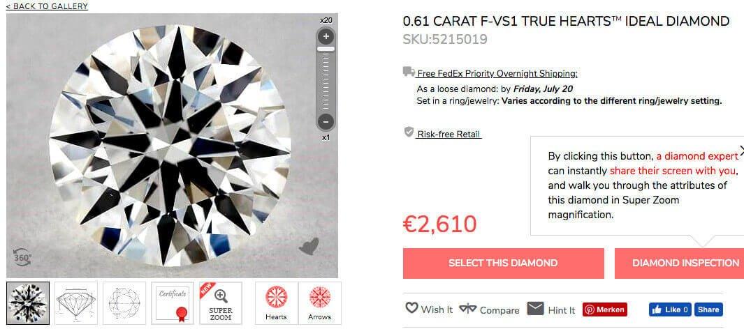 Beispiel James Allen Diamant 0.61 Karat Farbe F, Reinheitsgrad VS1 True Hearts