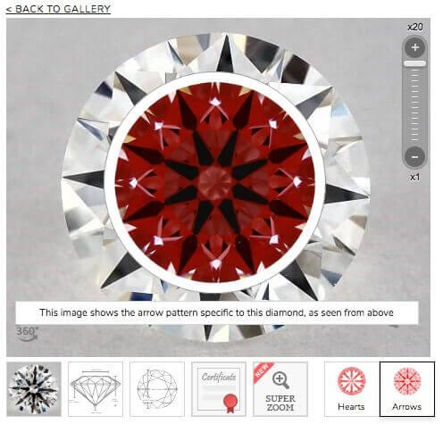 James Allen Ideal-Scope vom Diamanten 0.61ct F VS1 True Hearts
