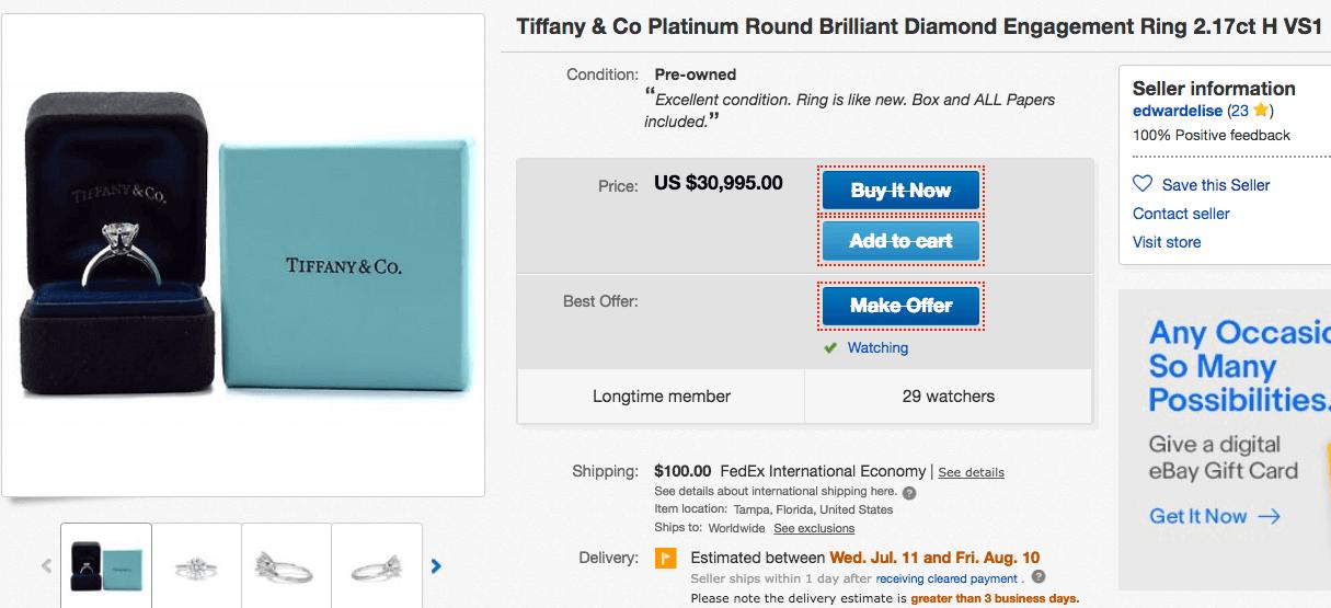 Tiffany Verlobungsring mit Tiffany-Setting auf Blue-Box