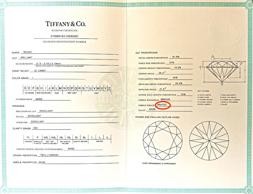 Tiffany-Zertifikat für Tiffany Diamanten mit 0.51ct Farbe I Reinheit VS2