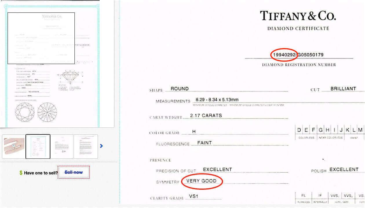 Tiffany-Zertifikat mit den Schliff-Bewertungen für einen Diamanten, 2.17ct H VS1