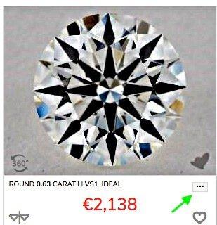 Vorauswahl eines Diamanten-Beispiels aus der Online-Liste mit AGS-Diamanten von James Allen